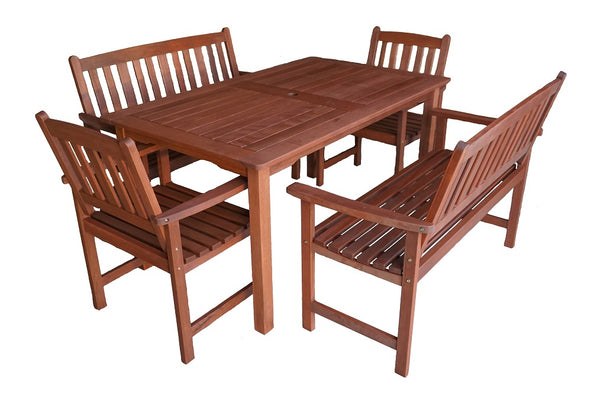 Malay Rectangular 1.5m Dining Table & Bench 5pc Setting