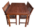 Malay Rectangular 1.5m Dining Table & Bench 3pc Setting