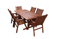 Tropical Rectangular Dining Table and Chairs 7pc Setting