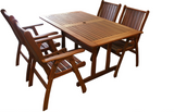 Tropical Rectangular Dining Table and Chairs 5pc Setting