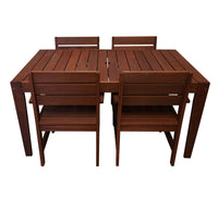 Lazio Rectangular 1.5m Dining Table & Chairs 5pc Setting