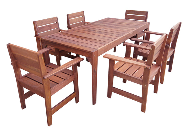 Lazio Rectangular 1.8m Dining Table & Chairs 7pc Setting