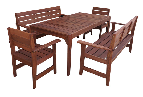 Lazio Rectangular Dining Table & Arm Bench 5pc Setting