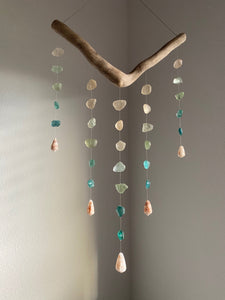 Five ('Elima) Strand Mobile with Vintage Teal Ombre Sea Glass and Cone Shells Reserved for K