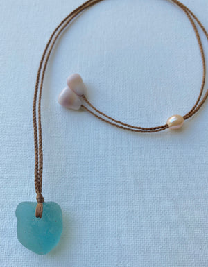 Aqua Sea Glass Necklace (Adjustable up to 26 inches)