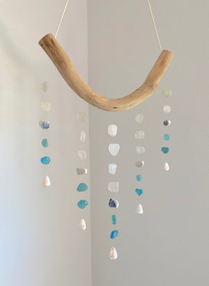 Five ('Elima) Strand Mobile with Vintage Turquoise Ombre Sea Glass, Sea Pottery and Cone Shells