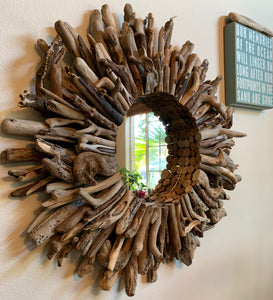 Dark Wood Driftwood Mirrored Wreath (30 inch)