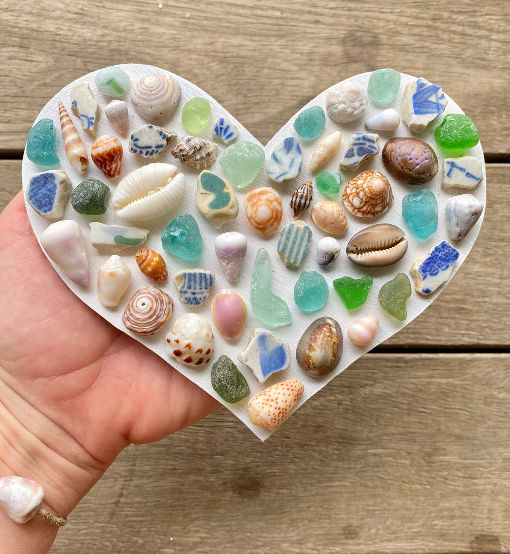 Shell & Sea Glass Heart (6.5 inch)
