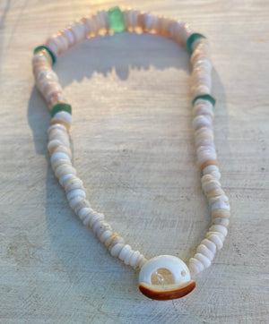 Handpicked Hawaiian Puka & Vintage Sea Glass Necklace (18 inches)
