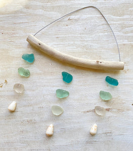 'Ekolu: Three Strand Sea Glass Mobile in Turquoise Ombre