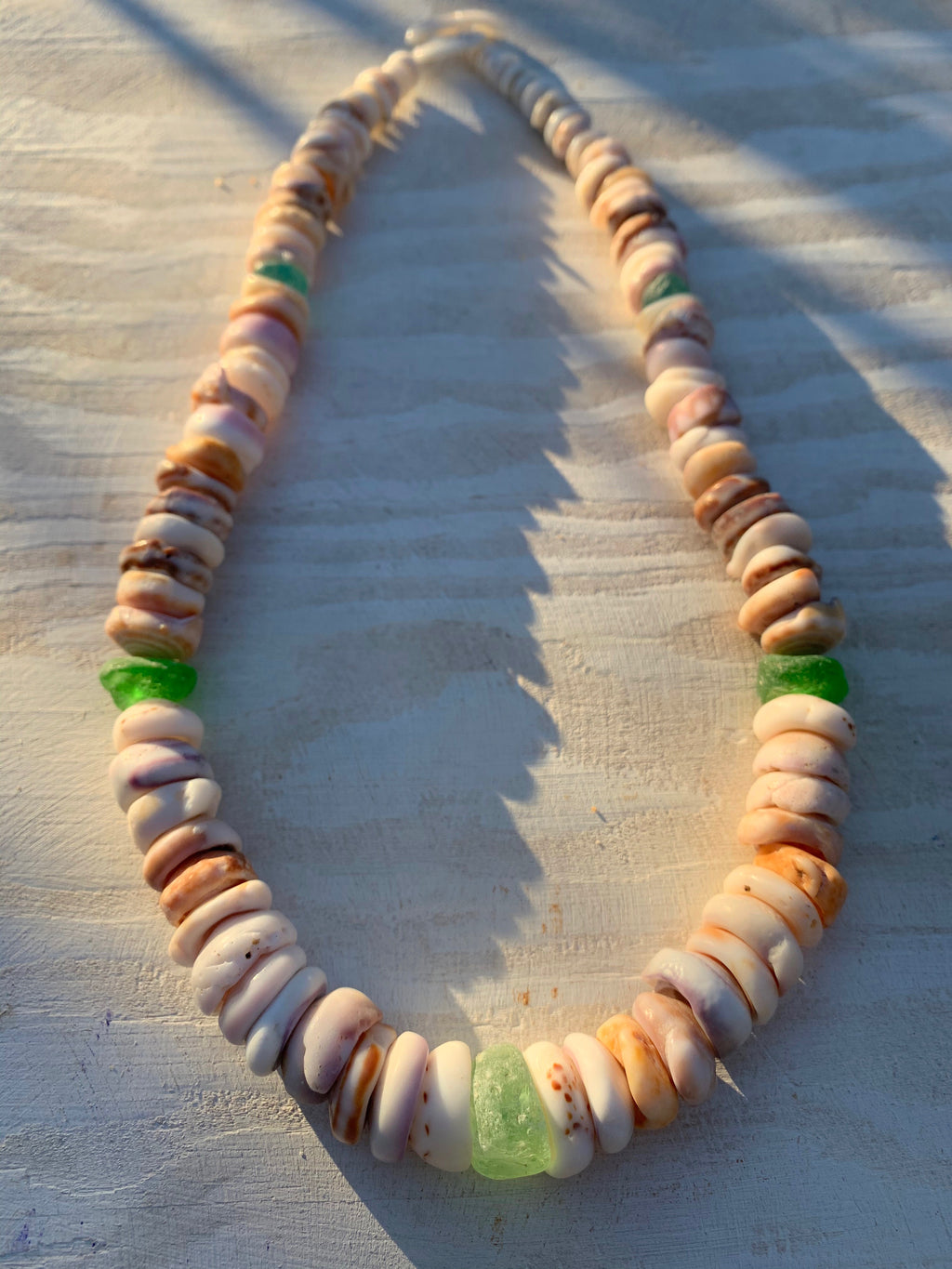 Handpicked Hawaiian Puka & Vintage Sea Glass Necklace (20 inches)