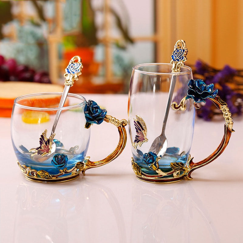 Rose Butterfly Glass Tea Cup (Type 01)
