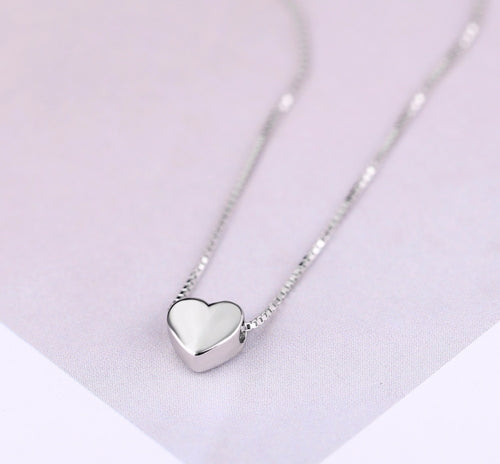 Dainty Heart Necklace Sterling Silver