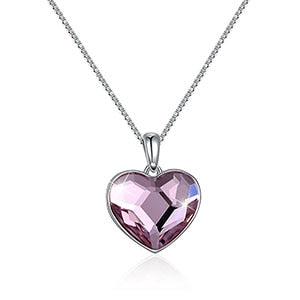 Elegant Swarovski Crystal Heart Necklace 925 Sterling Silver