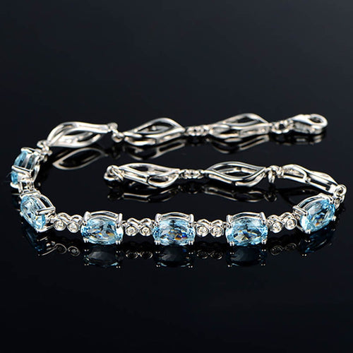 Luxury Aquamarine  Bracelet 925 Sterling Silver