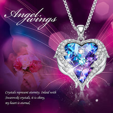 Load image into Gallery viewer, Eternity Swarovski Heart & Angel Wings Necklace