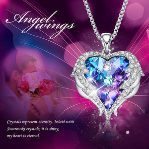 Eternity Swarovski Heart & Angel Wings Necklace