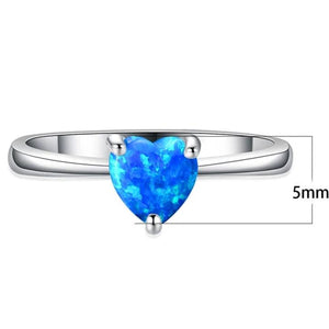 Heart Shaped Opal Ring 925 Silver