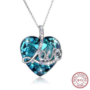 "Luxury Sterling Silver Swarovski ""My Heart is filled with Love"" Necklace"