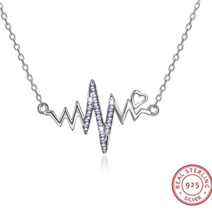 "Silver Swarovski "" My Heart is beating 4 U"" Necklace"