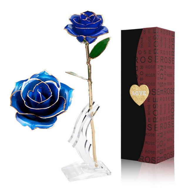 24 K Gold Dipped Rose with Stand