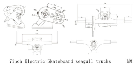 7inch Electric Skateboard Seagull Trucks Belt Drive Set - eRider.com.au