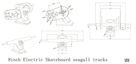 8inch Electric Skateboard Seagull Trucks Belt Drive Set - eRider.com.au