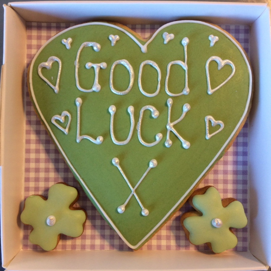 Good Luck Love Heart Cookie Card