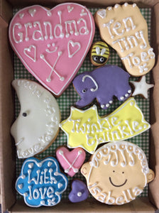 Baby Girl Cookie Box / New Baby, Christening, Baby Shower (Medium)