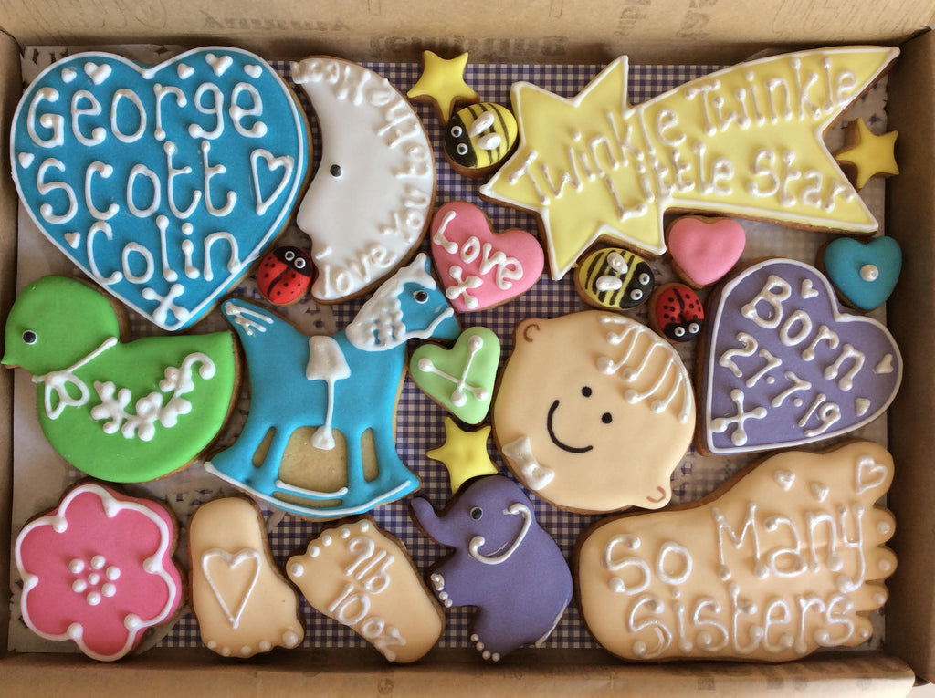 Baby Boy Cookie Box / New Baby, Christening, Baby Shower (Medium)