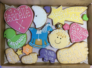 Baby Girl Cookie Box / New Baby, Christening, Baby Shower (Large)