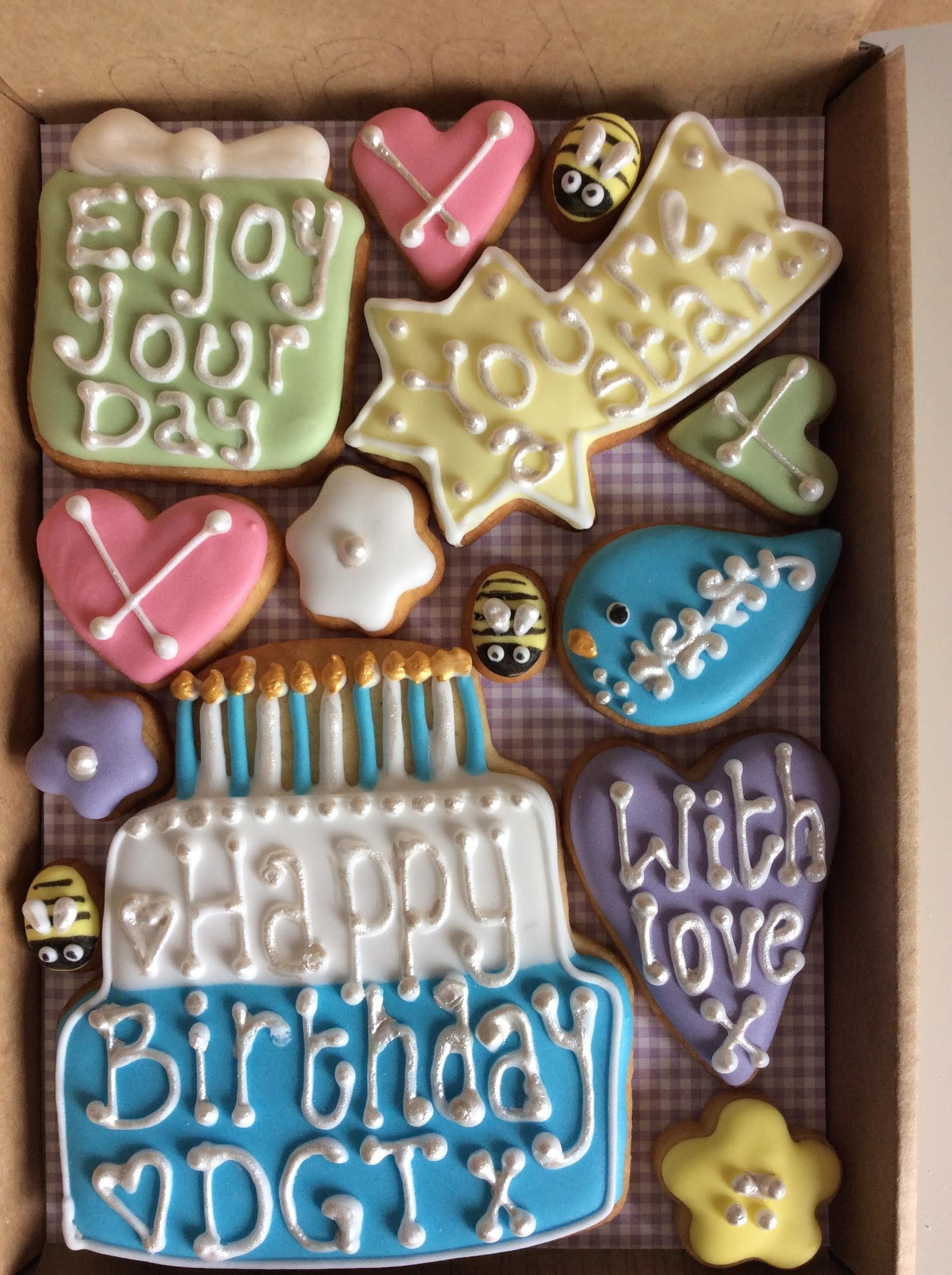 Birthday Cookie Box for the boys (Medium)