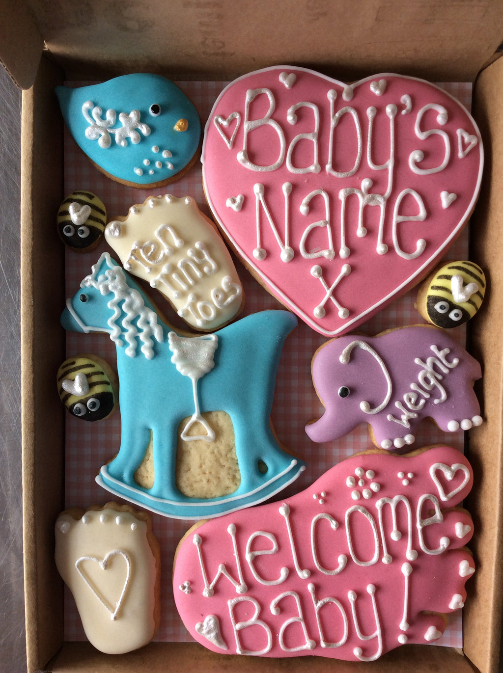 Copy of Baby Girl Rocking Horse Cookie Box / New Baby, Christening, Baby Shower (Small)