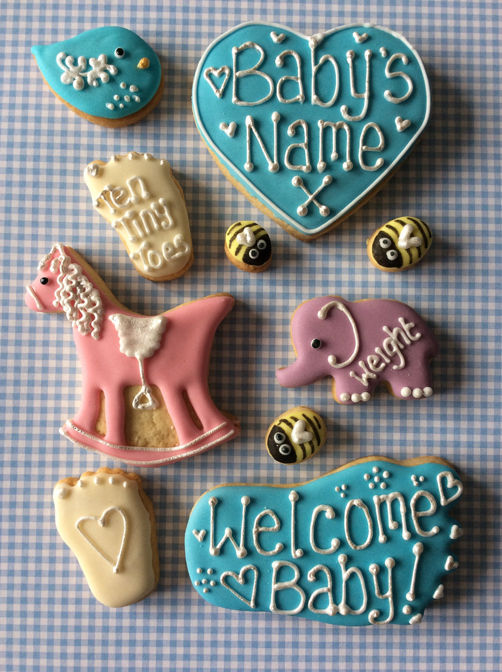 Baby Boy Rocking Horse Cookie Box / New Baby, Christening, Baby Shower (Medium)