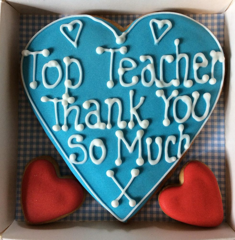 Top Teacher loveheart Cookie Box