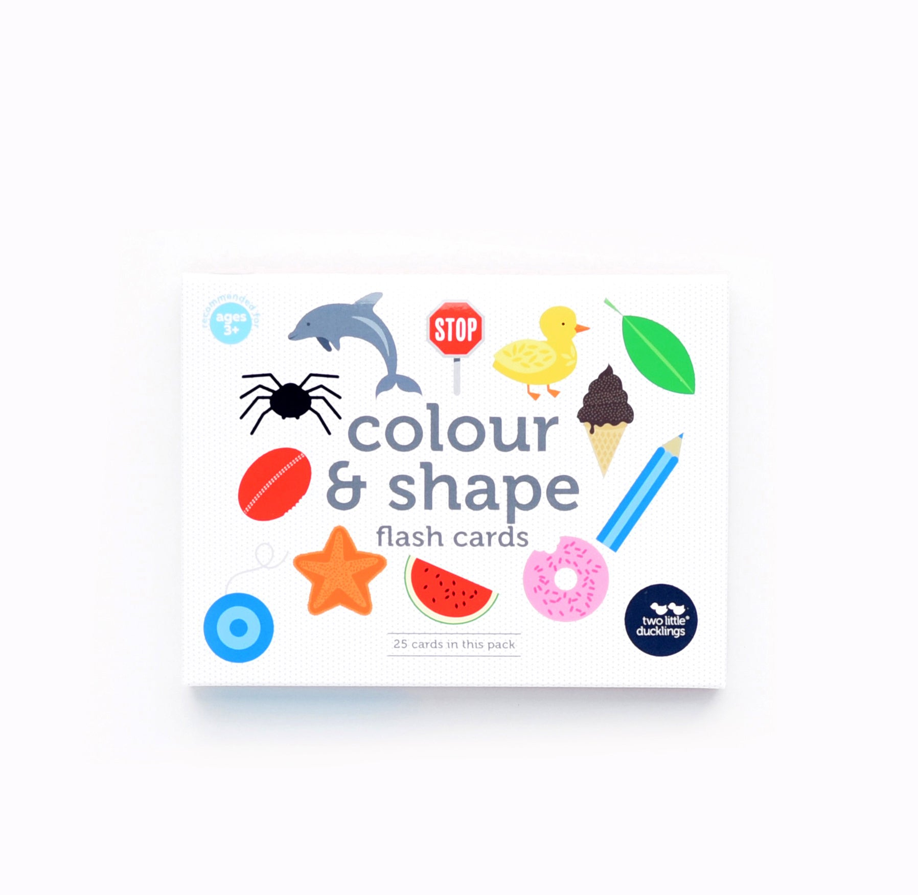 Colour and shape flash cards by Two Little Ducklings  Make learning about colours and shapes fun with this set of brightly-coloured illustrated flash cards. The cards feature 16 colour cards and 9 shape cards.