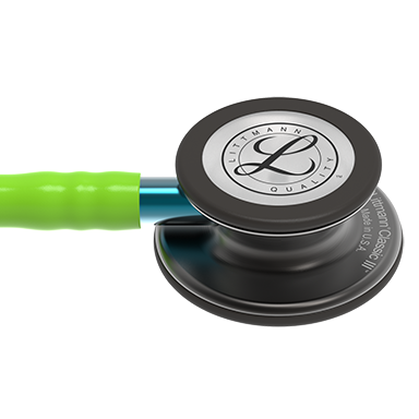 27'' length  Smoke Chestpiece, Lime Green Tube, Blue Stem and Smoke Headset Littmann® Classic III™ Monitoring Stethoscope