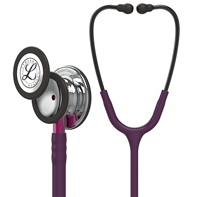 "Image of 27"" Length Plum Tube, Mirror Chestpiece, Pink Stem Littmann® Classic III™ Monitoring Stethoscope"