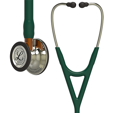 Image of 27'' Length High Polish Champagne-Finish Chestpiece, Hunter Green Tube, Orange Stem and Champagne Headset Littmann® Cardiology IV™ Diagnostic Stethoscope