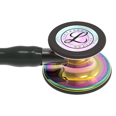 27'' Length Black tube, High-polish rainbow chestpiece, Black stem Littmann® Cardiology IV™ Diagnostic Stethoscope