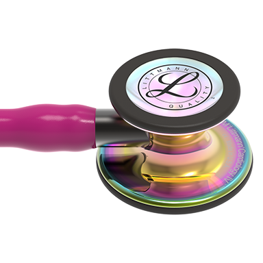 27'' Length Raspberry Tube, High-Polish Rainbow Chestpiece, Smoke Stem Littmann® Cardiology IV™ Diagnostic Stethoscope