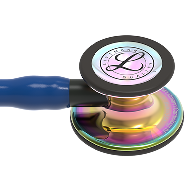 Image of 27'' Length Navy Blue tube, High-Polish Rainbow Chestpiece, Black Stem Littmann® Cardiology IV™ Diagnostic Stethoscope