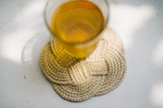 one cotton rope coaster with glass on top
