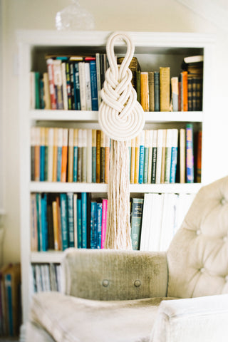 Large Hand Looped and Knotted Wall Hanging with Long Tassel in ivory color