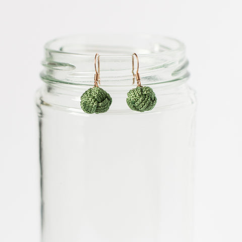 green knotted earrings handmade