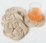 cotton rope woven coaster set of 4 with glass