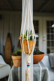 plant hanger with terracotta pot inside hanging on outdoor patio