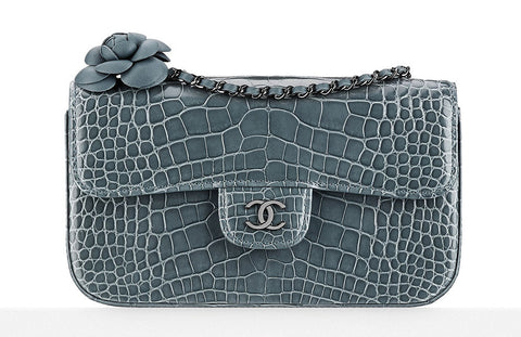 Chanel Shiny Alligator Flap Bag with Camellia