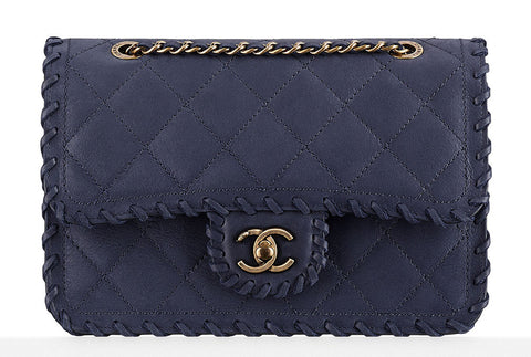 Chanel Small Velvet Calfskin Whipstitched Flap Bag