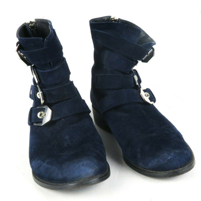 Stuart Weitzman  Blue Velvet Buckle Boots Back Zipper US 5 - 35 Jitterbug | Pre-Owned Used
